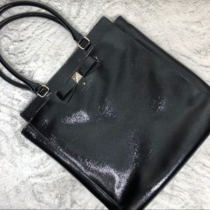 Patent Leather Square Structured Bow Career Tote